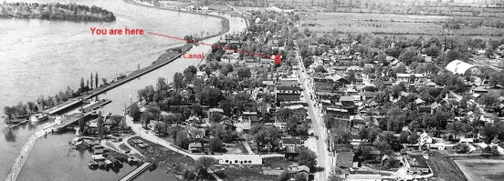 01 old morrisburg from the air showing entry point - from slp